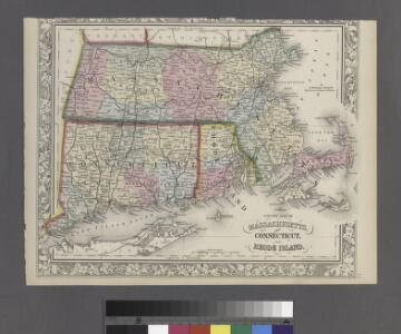 County map of Massachusetts, Connecticut, and Rhode Island.