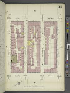 Manhattan, V. 5, Plate No. 44 [Map bounded by 9th Ave., West 46th St., 8th Ave., West 43rd St.]