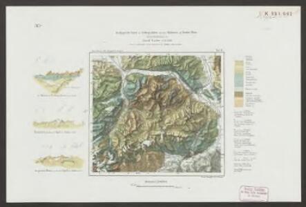 Geologische Karte der Gebirgsfalten zwischen Walensee und Vorder Rhein