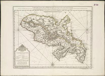 Carte de I'isle de la Martinique colonie Francoise de l'une des isles Antilles de l'Amérique
