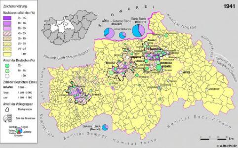 Siedlungsgebiet der Deutschen nach dem Nachbarschaftsindex für Mittel-Transdanubien 1941