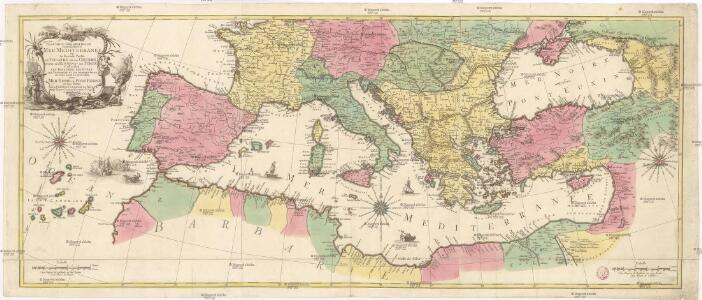 Carte geographique representant la Mer Mediterranée ou la seconde partie du théatre de la guerre entre les Russes et les Turcs
