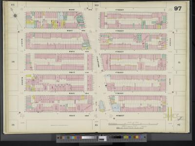 Manhattan, V. 5, Double Page Plate No. 97 [Map bounded by W. 47th St., 6th Ave., W. 42nd St., 8th Ave.]