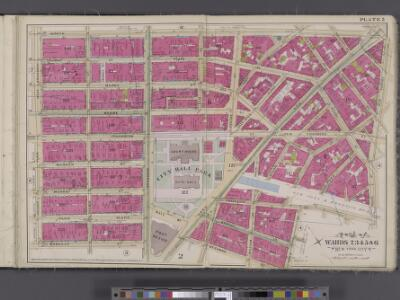 Manhattan, V. 4, Double Page Plate No. 5 [Map bounded by Worth St., New Bowery, Pearl St., Cold St., Beekman St., Barclay St., College Place, West Broadway]