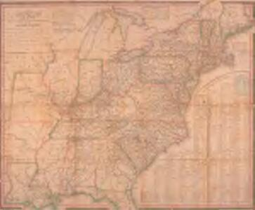 Map of the roads, canals and steam boat routes of the United States: with the distances from place to place carefully noticed ... / designed for the use of travellers by H.S. Tanner.