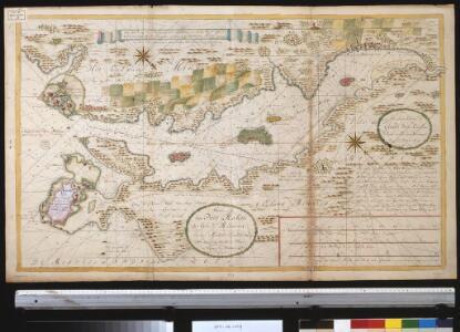 Afteekeninck van Port Mahon opt eijland Minorca in de Middellandse Zee met aenwijsinge van anker plaetse en diepten des water in vademen int groodt