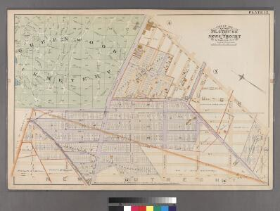 Plate 13: [Bounded by West Street, Sixteenth Avenue, 43rd Street, Ninth Avenue, 37th Street (Greenwood Cemetery) and Fort Hamilton Avenue.]