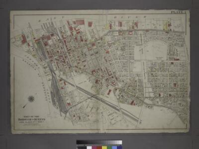 [Plate 1: Bounded by (East River) River Street, Dock Street, Front Street, Hunterspoint Avenue, West Avenue, Vernon Avenue, Freeman Avenue, Jackson Avenue, Thomson Avenue, Upton Street, Mott Avenue, Creek Street, Borden Avenue, Vernon and Flushing Street