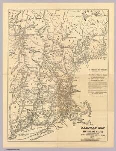 Railway map New England States.