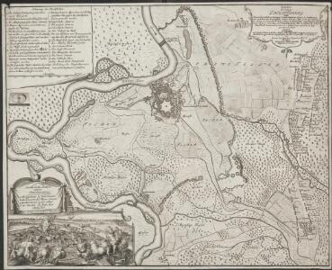 Grundris der Vestung Philippsburg nebst denen feindlichen Attaquen, Circumvalations-Linien u. Batterien aus welchen die Französische Armee den 23. May. 1734 die Vestung zu belagern, und den 7. Juny, selbige zu beschiessen angefangen und nach tapferer [...]