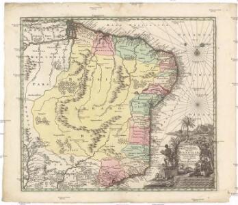 Recens elaborata mappa geographica regni Brasiliae in America Meridionali