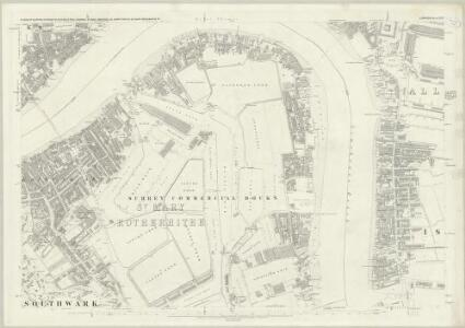 London (First Editions c1850s) XLVI (includes: Bermondsey; Poplar Borough) - 25 Inch Map