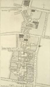Plan showing an intended new road between Moor Gate and Mansion House