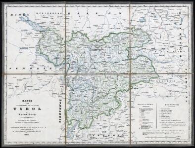 Karte der gefürsteten Grafschaft Tyrol mit Vorarlberg : typographisch ausgeführt in der ersten k.k. a. p. Kunstdruckerei