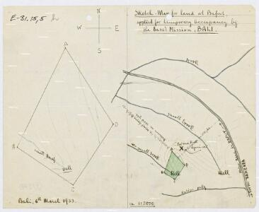 Sketch-Map for Land at Bafut, applied for temporary Occupancy by the Basel Mission, Bali
