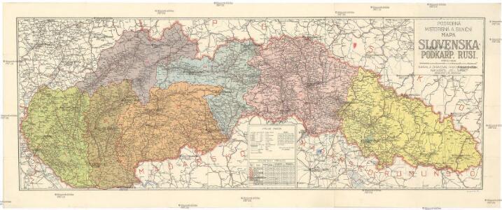 Podrobná místopisná a silniční mapa Slovenska a Podkarp. Rusi