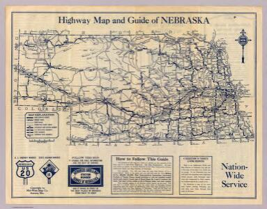 Nebraska highway map.