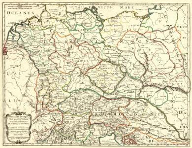 Germania Antiqua in IV. Magnos Populos, in Minores Populos, et in Minimos, distincta. Illyricum Occidentis cum Itineribus Romanis