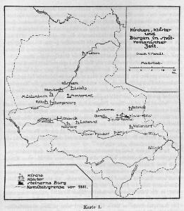 Kirchen, Klöster und Burgen in spätromanischer Zeit (nach V. Mancl)