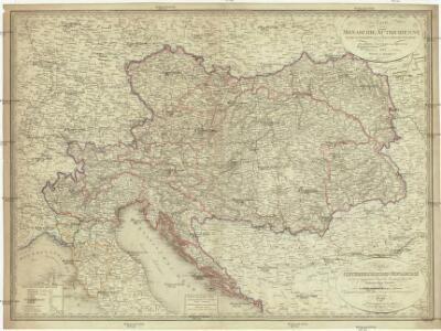 Karte der oesterreichischen Monarchie und der vor osterreichischen Prinzen und Prinzessinen beherrschten italienischen Staaten als Toscana, Modena, Parma und Massa nach dem Wiener Congresse den späteren Verträgen und Gränzbestimmungen
