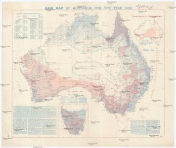 Rain map of Australia for the year 1909