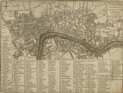 The LONDON Guide or A Pocket Plan of the CITIES of LONDON, WESTMINSTER and borough  of SOUTHWARK for the Universal Scots ALMANACK, with the New Buildings 1781.
