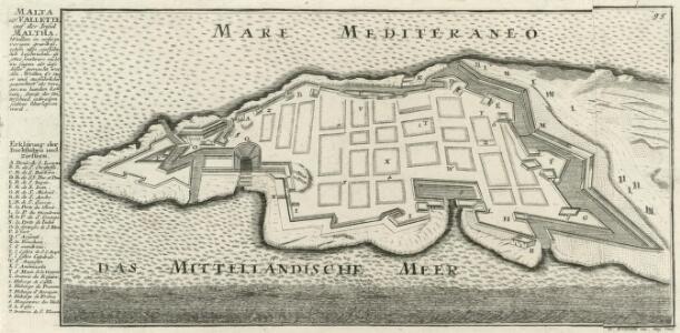 Malta od. Vallette auf der Insul Maltha.