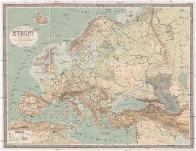 Závěsná mappa [sic] hor a řek Evropy