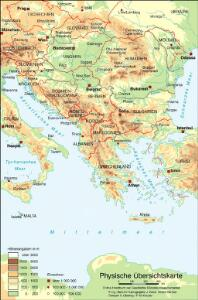 Physische Übersichtskarte (Südosteuropa heute)