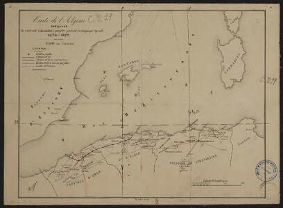 Carte de l'Algérie indiquant les centres de colonisation à peupler pendant la campagne agricole 1876-1877