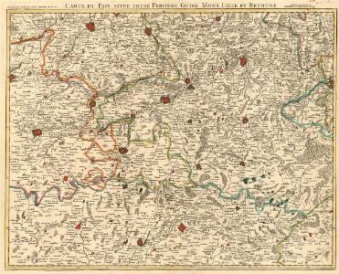 Carte du Pais situe entre Peronne Guise Mons Lille et Bethune