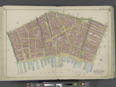 Manhattan, Double Page Plate No. 3 [Map bounded by William St., Park St., Market St., East River, Maiden Lane]