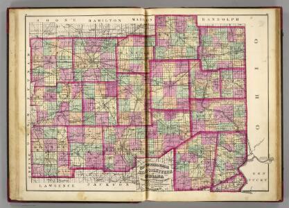 Hendrickson, Marion, Hancock, Henry, Wayne, Morgan, Johnson, Shelby, Rush, Fayette, Union, Monroe, Brown, Bartholomew, Decatur, Franklin, Ripley, Dearborn, Ohio counties.