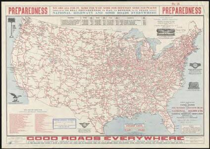 National highways map of the United States showing one hundred thousand miles of national highways proposed by the National Highways Association