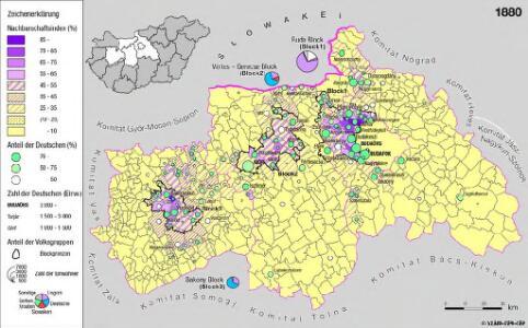 Siedlungsgebiet der Deutschen nach dem Nachbarschaftsindex für Mittel-Transdanubien 1880