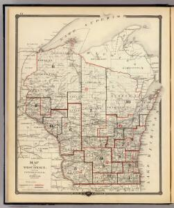 Map of Wisconsin showing congressional and judicial districts.