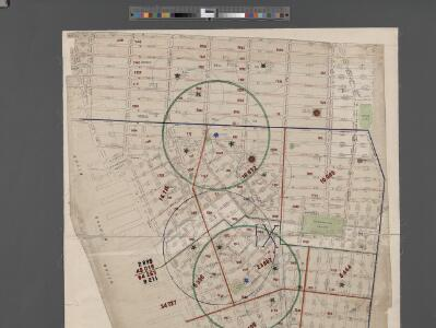 [Map of New York City between Canal and 22nd Sts?? and Broadway and the Hudson River School District No. 9, showing population and school attendance figures.]