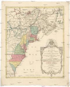 Carte nouvelle de l'Amerique angloise contenant tout ce que les Anglois possedent sur le continent de l'Amerique Septentrionale