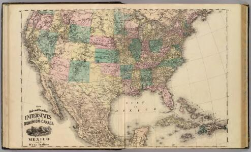 New railroad map of the United States, ... Canada, Mexico and the West Indies.