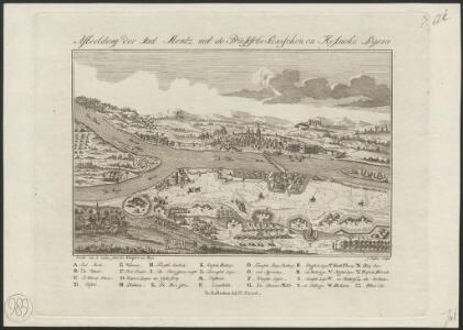 Afbeelding der stad Mentz met de Pruisische, Saxischen en Hessische legers : eerndt. naa. de naatuur getekent in Frankfurt am Maijn