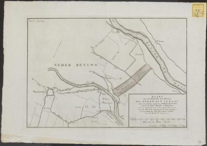 Kaart van een gedeelte der riviere de Neder-Ryn en Waal met de tussen gelegen Neder Betuwe omtrent de dorpen Heusde en Dodewaart, waar in aangetoond word, 't geconcipieerde overlaat van den heer Barnevelt ...