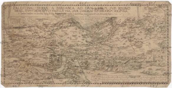 Palestinae terrae a Bersabea ad Dan vrbem svb regno Israel, typvs desrcriptvs [sic] pagella vna, qvae congrvat ad bibliorvm volvmina