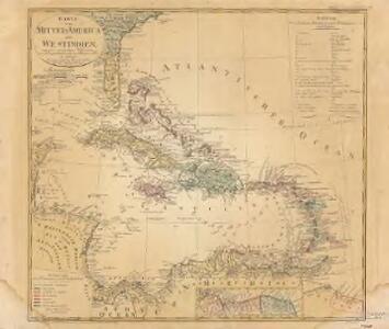Karte von Mittel America oder Westindien