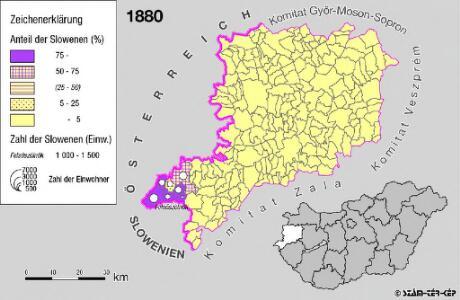 Slowenen im Komitat Vas 1880