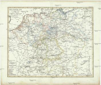 Deutschland und anliegende Länder zur Übersicht, d Hauptstr. u. Entfernungen zw. Paris, Mailand, Warschau u. Königsberg