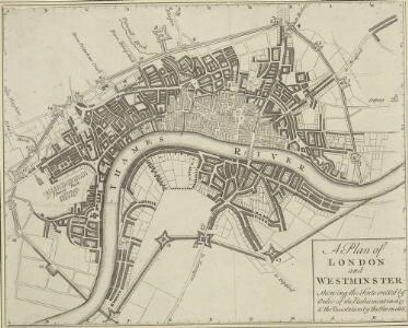 A Plan of LONDON and WESTMINSTER, shewing the Forts erected by order of the Parliament in 1643, and the Desolation by the Fire in 1666