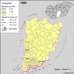 A horvátok aránya és száma Bács-Kiskun megyében 1880-ban