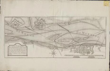 Plan van een gedeelte der rivier de Whaal, de Maas, en Merwede, omtrent het Fort Loevestein, Woudrichem, Dalem, en Gorinchem. Zoo als de zelve bij hermeetinge en peilingen (zoo veel de rivier belangt) zig bevond in de maand Juny 1777 ...