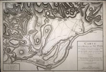 Carte de la Bataille de Neu Wied entre une Partie de l'Armée Française de Sambre et Meuse Commandée parl le Général en chef Hoch et le Corps Autrichiens commandé par le Général Krai