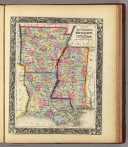 County Map Of Louisiana, Mississippi, And Arkansas.